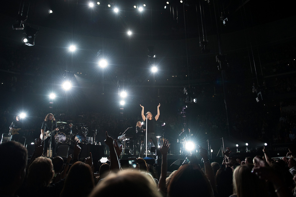 . DENVER, CO - APRIL 16: Jon Bon Jovi performs in concert at the Pepsi Center on April 16, 2013, in Denver, Colorado. (Photo by Daniel Petty/The Denver Post)