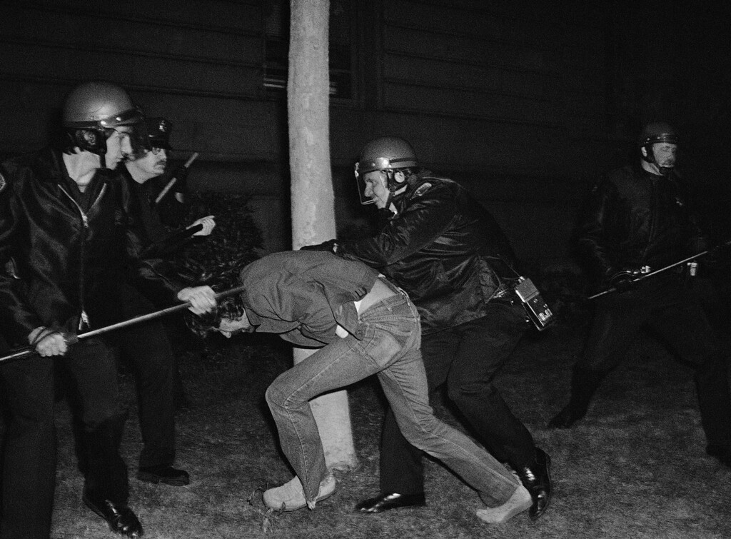 . Police wrestle with a demonstrator in front of San Franciscoís City Hall, May 22, 1979, which erupted following juryís verdict of two counts of voluntary manslaughter for Dan White in the killings of Mayor George Moscone and Supervisor Harvey Milk. (AP Photo/Paul Sakuma)