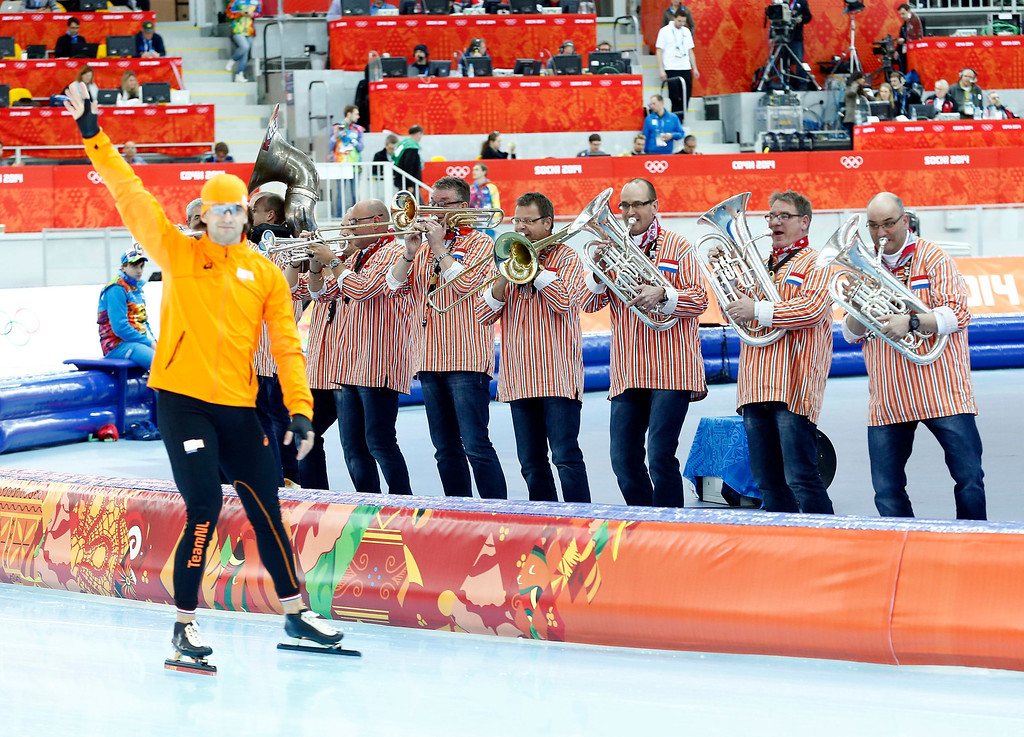 . Dutch band before the Men\'s 1,500m Speed Skating event in the Adler Arena at the Sochi 2014 Olympic Games, Sochi, Russia, 15  February 2014.  EPA/VINCENT JANNINK