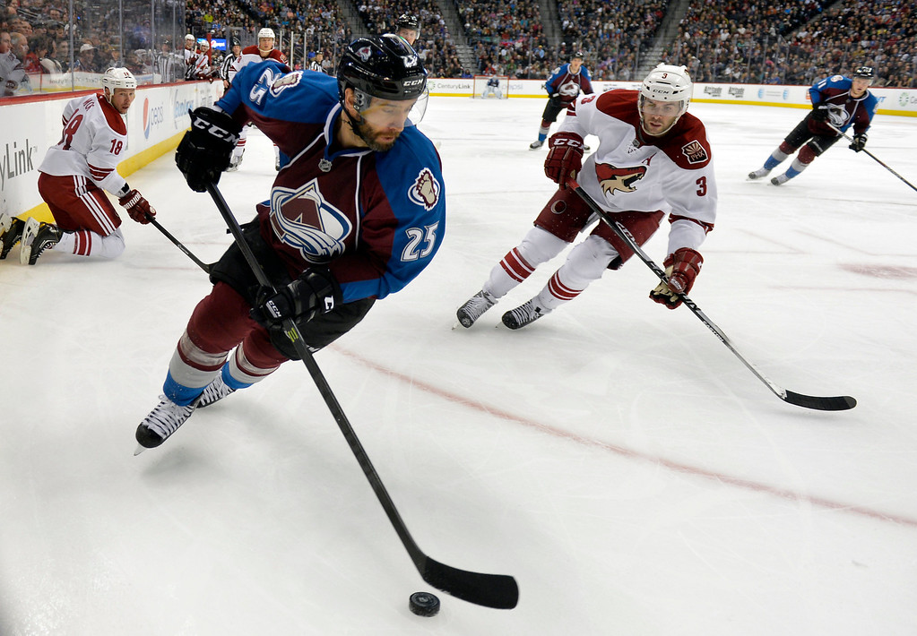 . Colorado Avalanche center Maxime Talbot (25) skates against Phoenix Coyotes defenseman Keith Yandle (3) during the third period of an NHL hockey game on Friday, Feb. 28, 2014, in Denver. (AP Photo/Jack Dempsey)