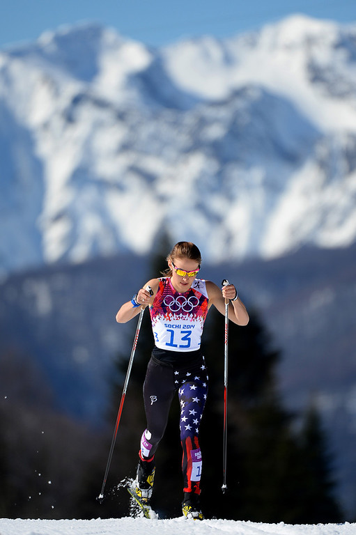 . Sophie Caldwell of the United States competes in the Women\'s 10 km Classic during day six of the Sochi 2014 Winter Olympics at Laura Cross-country Ski & Biathlon Center on February 13, 2014 in Sochi, Russia.  (Photo by Harry How/Getty Images)