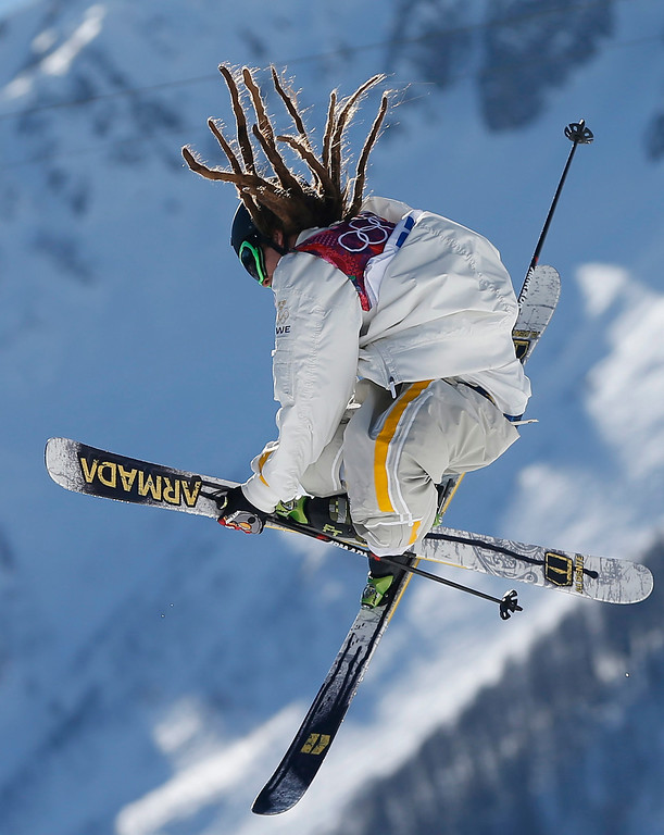 . Henrik Harlaut of Sweden during the Men\'s Freestyle Skiing Slopestyle Final in the Rosa Khutor Extreme Park at the Sochi 2014 Olympic Games, Krasnaya Polyana, Russia, 13 February 2014.  EPA/VALDRIN XHEMAJ