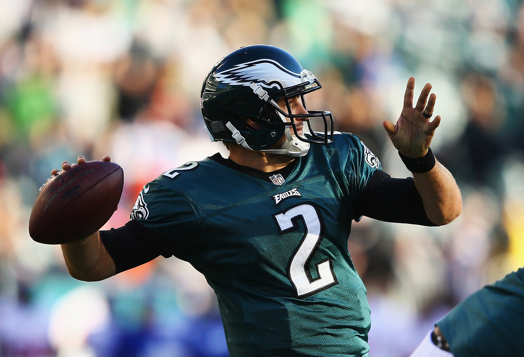 . Matt Barkley #2 of the Philadelphia Eagles throws an interception in the final seconds of a 15-7 loss to the New York Giants during their game at Lincoln Financial Field on October 27, 2013 in Philadelphia, Pennsylvania.  (Photo by Al Bello/Getty Images)