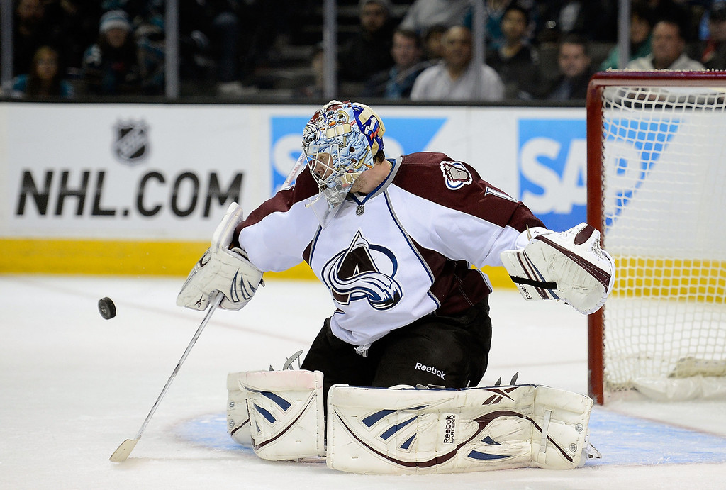 . Goalkeeper Semyon Varlamov #1 of the Colorado Avalanche blocks a shot against the San Jose Sharks in the second period at HP Pavilion on February 26, 2013 in San Jose, California.  (Photo by Thearon W. Henderson/Getty Images)