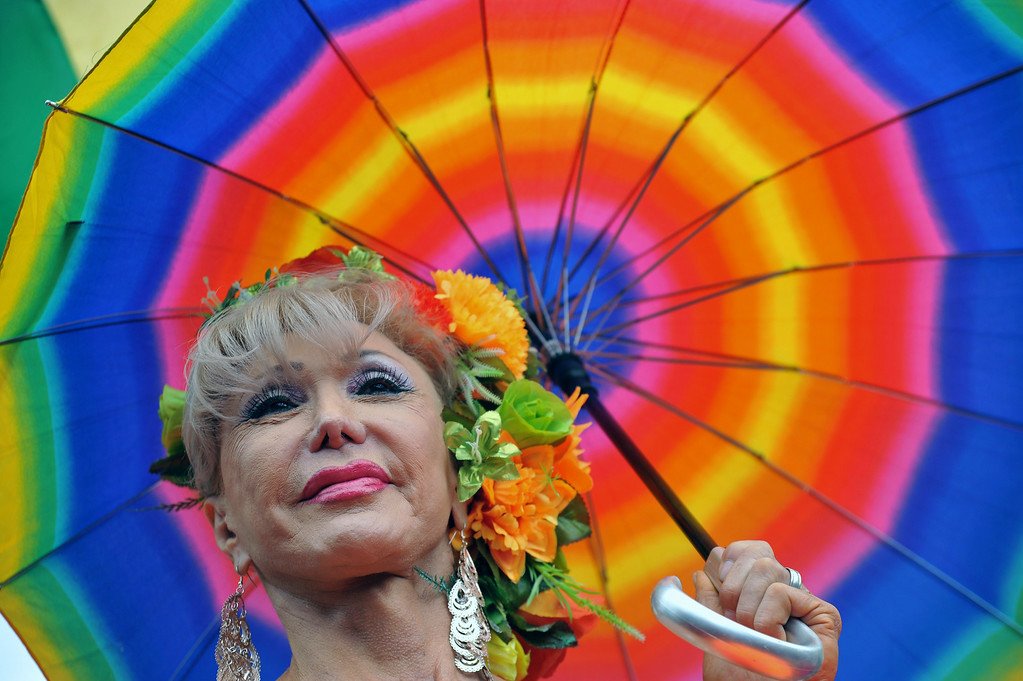 . A reveler takes part in the Gay Pride Parade in Bogota, Colombia on June 29, 2014. GUILLERMO LEGARIA/AFP/Getty Images