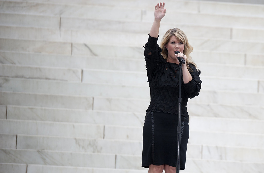 """. Singer Natalie Grant performs during the Let Freedom Ring Commemoration and Call to Action to commemorate the 50th anniversary of the March on Washington for Jobs and Freedom at the Lincoln Memorial in Washington, DC on August 28, 2013. Thousands will gather on the mall on the anniversary of the march and Dr. Martin Luther King, Jr.\'s famous \""""I Have a Dream\"""" speech.   SAUL LOEB/AFP/Getty Images"""