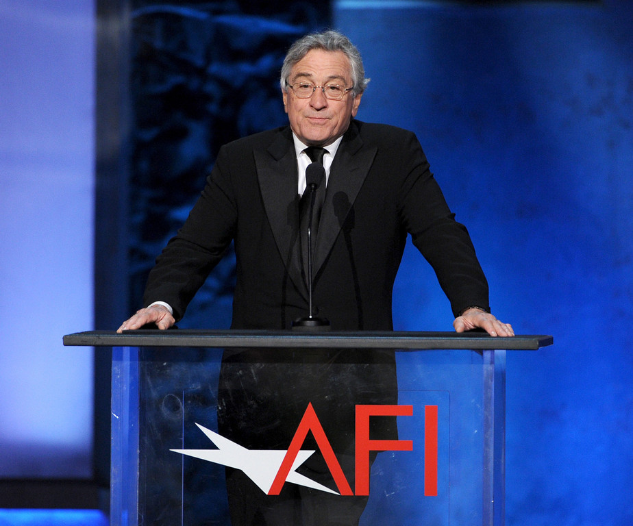 . Actor Robert De Niro speaks onstage during the 41st AFI Life Achievement Award Honoring Mel Brooks at Dolby Theatre on June 6, 2013 in Hollywood, California. Special Broadcast will air Saturday, June 15 at 9:00 P.M. ET/PT on TNT and Wednesday, July 24 on TCM as part of an All-Night Tribute to Brooks.  (Photo by Kevin Winter/Getty Images)
