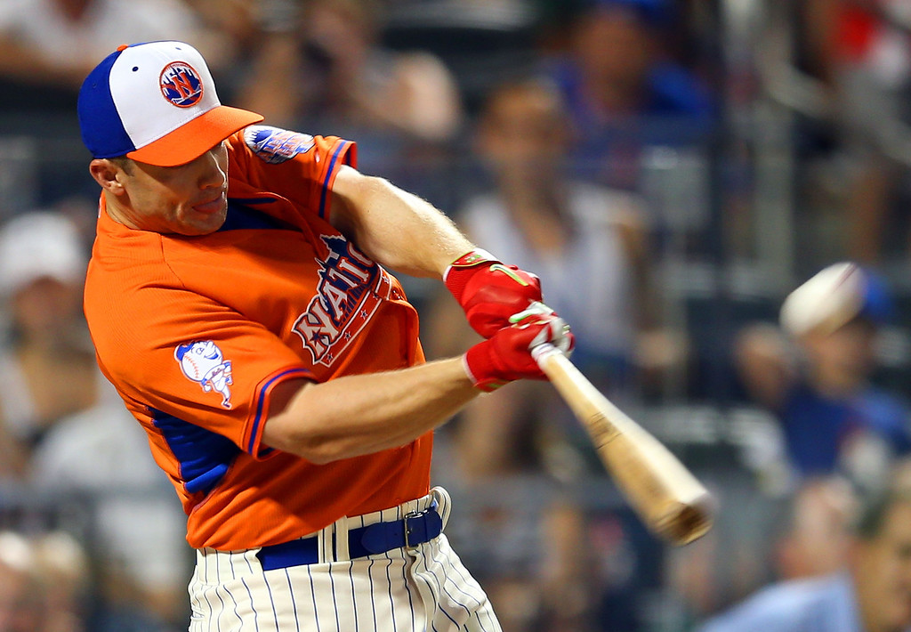 . David Wright of the New York Mets bats during the Chevrolet Home Run Derby on July 15, 2013 at Citi Field in the Flushing neighborhood of the Queens borough of New York City.  (Photo by Mike Ehrmann/Getty Images)