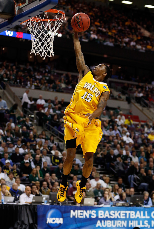 . Erik Buggs #15 of the Valparaiso Crusaders drives for a shot attempt in the second half against the Michigan State Spartans during the second round of the 2013 NCAA Men\'s Basketball Tournament at at The Palace of Auburn Hills on March 21, 2013 in Auburn Hills, Michigan.  (Photo by Gregory Shamus/Getty Images)