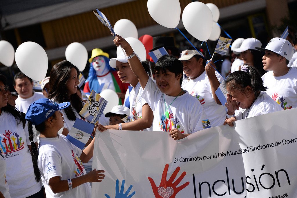 . Children with Down syndrome take part in the celebration of the World Down Syndrome Day in Guatemala City, on March 21, 2014. Today marks the 9th anniversary of World Down Syndrome and focuses on supporting all people with Down syndrome on their right to access healthcare without discrimination.   JOHAN ORDONEZ/AFP/Getty Images