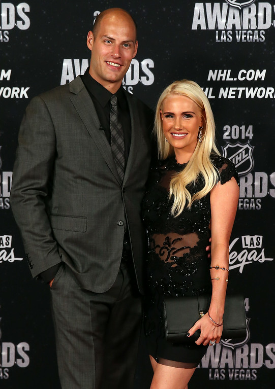 . Ryan Getzlaf of the Anaheim Ducks and his wife Paige arrive on the red carpet prior to the 2014 NHL Awards at Encore Las Vegas on June 24, 2014 in Las Vegas, Nevada.  (Photo by Bruce Bennett/Getty Images)