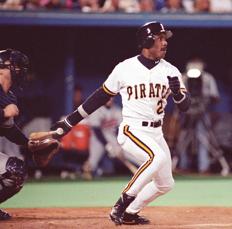 . BARRY BONDS -- Pittsburgh Pirates\' Barry Bonds watches his hit during Game 7 of the National League Championship Series against the Atlanta Braves at Three Rivers Stadium in Pittsburgh, Pa., in 1991.  (AP Photo/Gene J. Puskar)