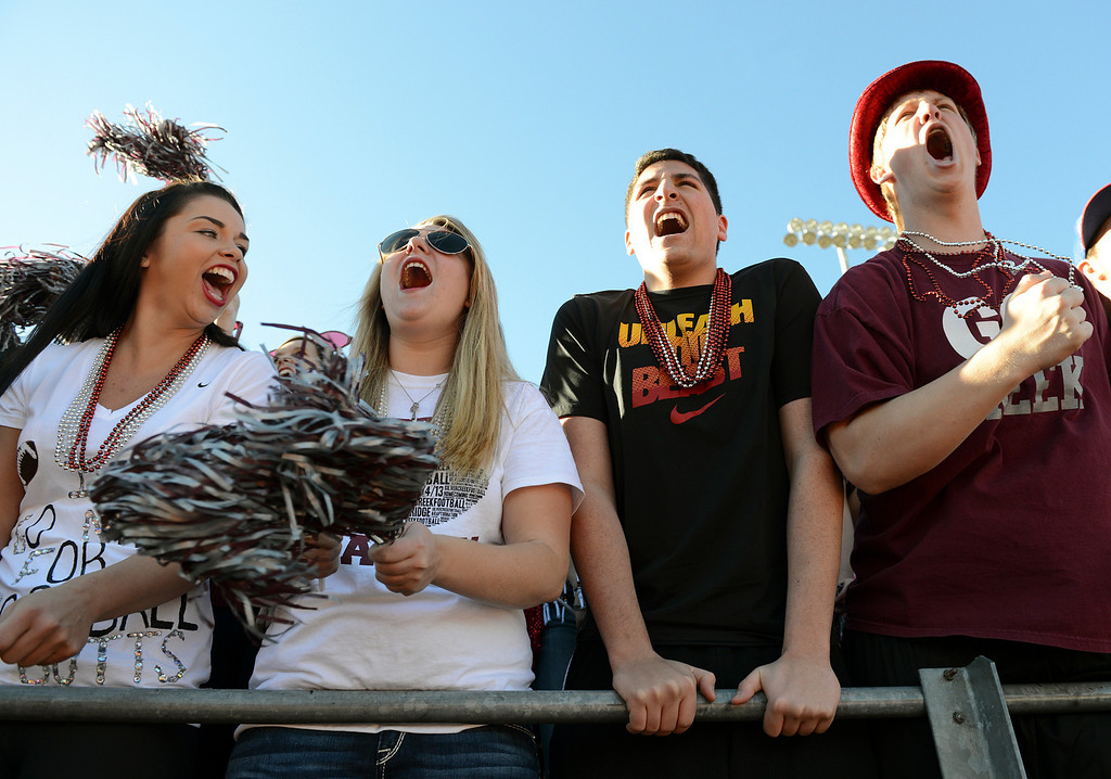 . Silver Creek seniors Franny Jones, Danica Snook, Francisco Echerarria, and Sam Martin cheer during the second quarter of the Class 3A state championship game against Coronado Saturday Nov. 30, 2013 at Everly-Montgomery Field.  (Lewis Geyer/Times-Call)