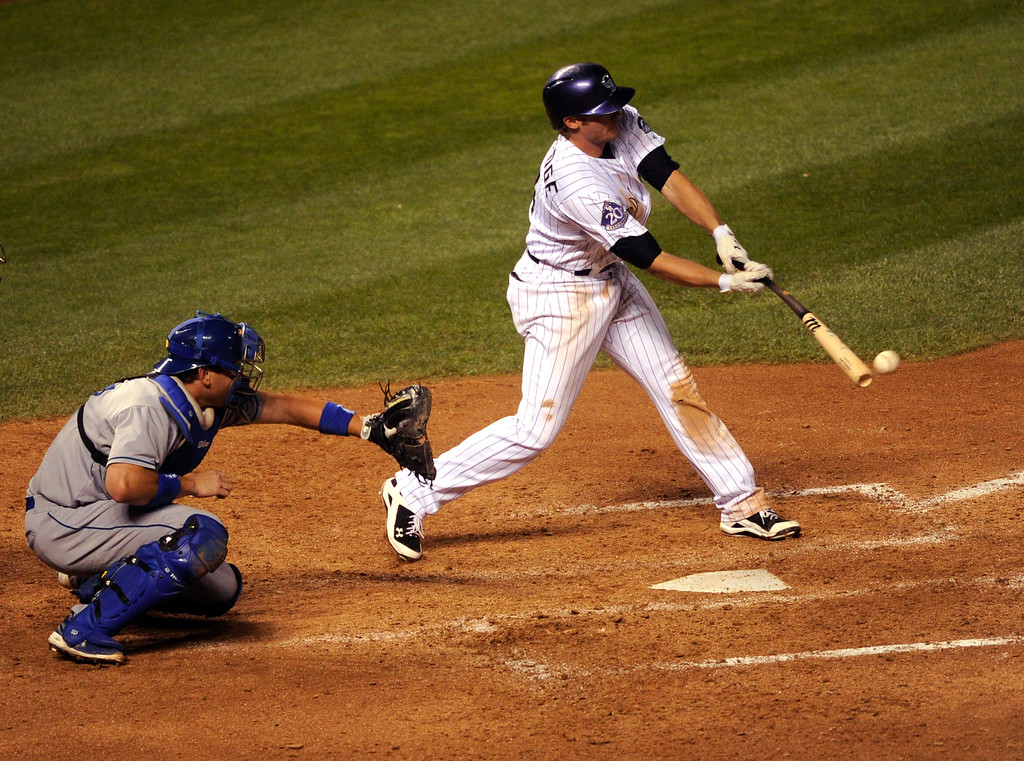 . DENVER, CO. - SEPTEMBER 4: Rockies batter Josh Rutledge drove in a run in the seventh inning. The Colorado Rockies defeated the Los Angeles Dodgers 7-5 at Coors Field Wednesday night, September 4, 2013.  Photo By Karl Gehring/The Denver Post