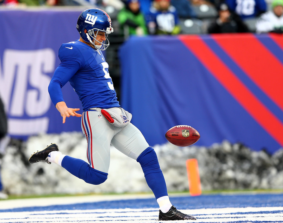 . Steve Weatherford #5 of the New York Giants punts the ball in the third quarter against the Seattle Seahawks at MetLife Stadium on December 15, 2013 in East Rutherford, New Jersey.The Seattle Seahawks defeated the New York Giants 23-0.  (Photo by Elsa/Getty Images)