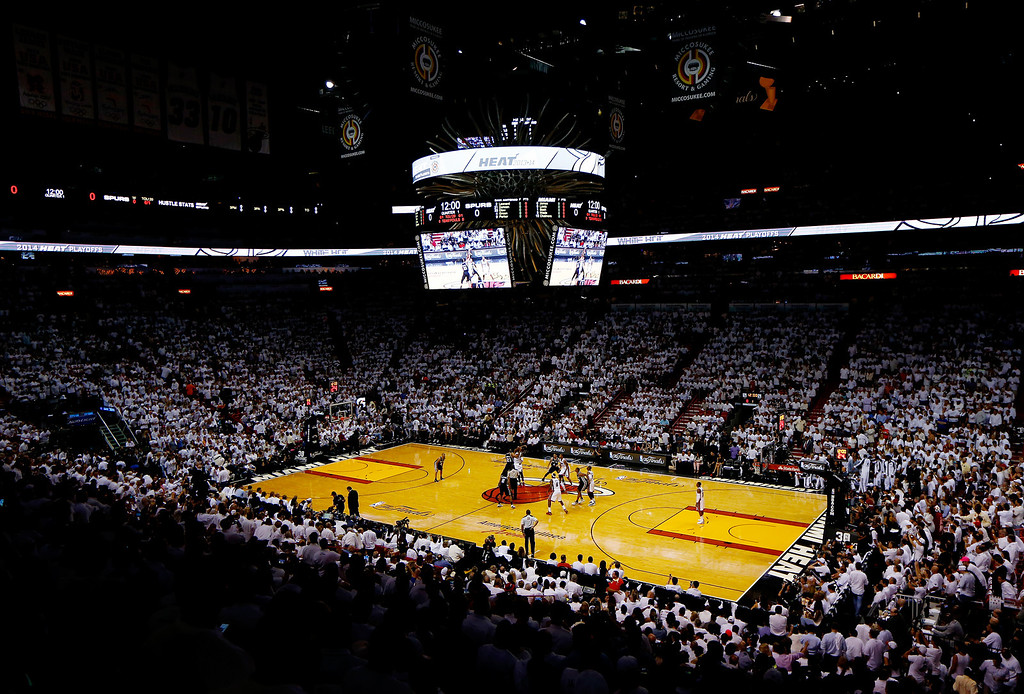 . MIAMI, FL - JUNE 10: A general view during Game Three of the 2014 NBA Finals between the Miami Heat and the San Antonio Spurs at American Airlines Arena on June 10, 2014 in Miami, Florida.  (Photo by Chris Trotman/Getty Images)