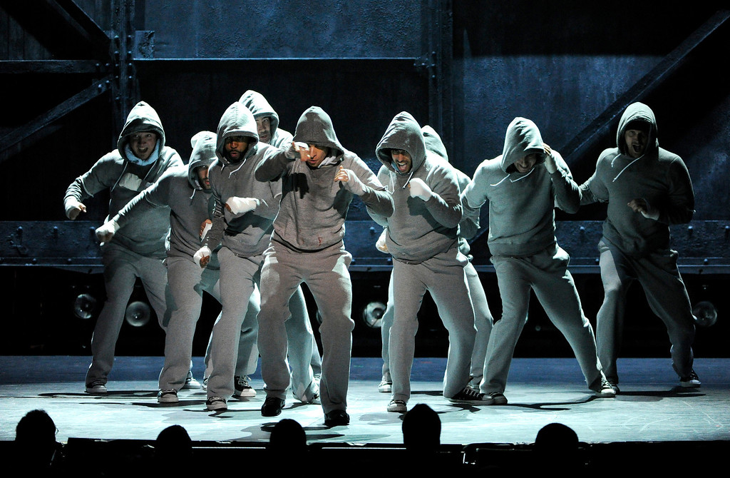 """. The cast of \""""Rocky\"""" performs on stage at the 68th annual Tony Awards at Radio City Music Hall on Sunday, June 8, 2014, in New York. (Photo by Evan Agostini/Invision/AP)"""