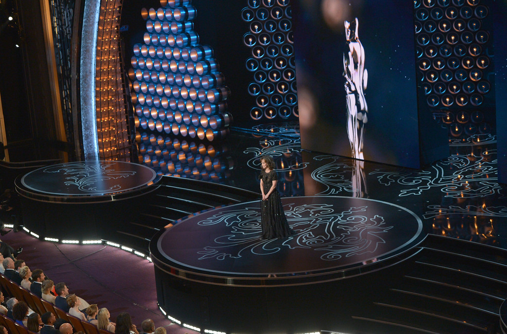 . Sally Field speaks on stage during the Oscars at the Dolby Theatre on Sunday, March 2, 2014, in Los Angeles.  (Photo by John Shearer/Invision/AP)