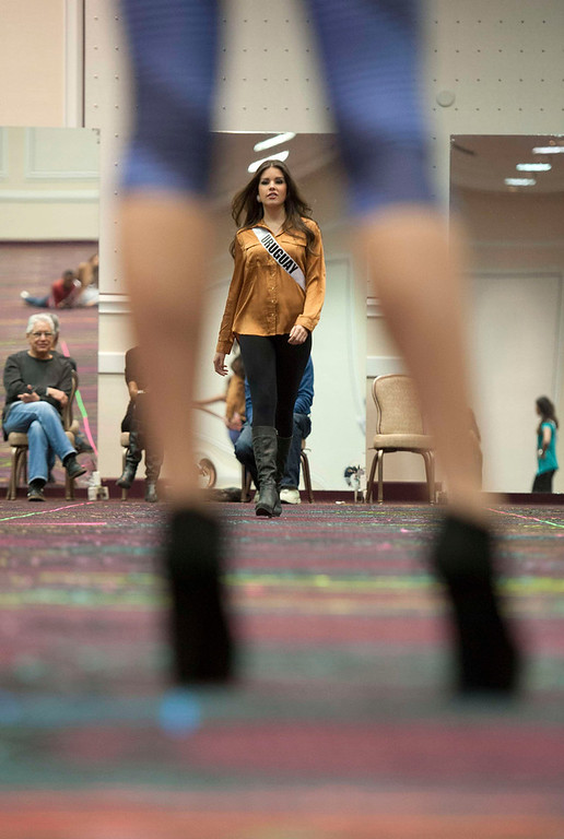 . Miss Uruguay Camila Vezzoso attends rehearsals at Bally\'s Las Vegas Hotel and Casino in Las Vegas, Nevada December 9, 2012. The 89 contestants from around the world will compete for the coveted Miss Universe crown. REUTERS/Valerie Macon/Miss Universe Organization L.P./Handout