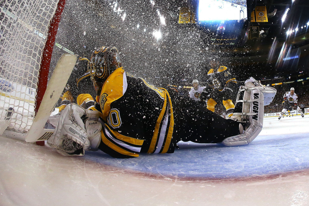 . Tuukka Rask #40 of the Boston Bruins tends goal in the second period against the Chicago Blackhawks in Game Three of the 2013 NHL Stanley Cup Final at TD Garden on June 17, 2013 in Boston, Massachusetts.  (Photo by Bruce Bennett/Getty Images)