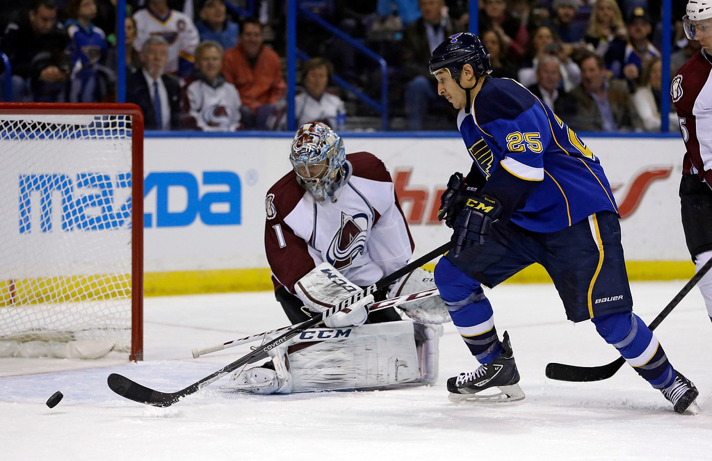 . St. Louis Blues\' Chris Stewart (25) reaches for a loose puck to score past Colorado Avalanche goalie Semyon Varlamov, of Russia, during the second period of an NHL hockey game Thursday, Nov. 14, 2013, in St. Louis. (AP Photo/Jeff Roberson)