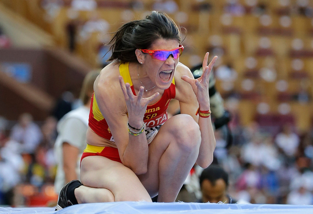 . Spain\'s Ruth Beitia reacts after an attempt in the men\'s high jump final at the World Athletics Championships in the Luzhniki stadium in Moscow, Russia, Saturday, Aug. 17, 2013. (AP Photo/David J. Phillip)