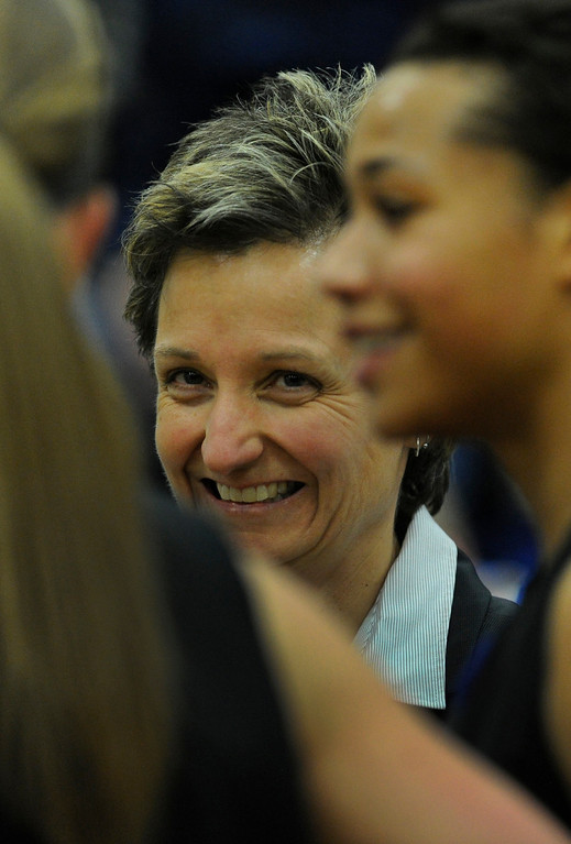 . PARKER, CO. - FEBRUARY 15: Ranch coach Caryn Jarocki smiled during a time out in the second half. The Highlands Ranch High School girls\'s basketball team defeated Legend 76-31 Friday night, February 15, 2013. Falcon\'s coach Caryn Jarocki earned her 500th career win. (Photo By Karl Gehring/The Denver Post)