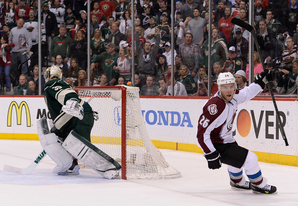 . Colorado Avalanche center Paul Stastny (26) celebrates his goal on Minnesota Wild goalie Darcy Kuemper (35) on a short handed power play during the first period April 28, 2014 in Game 6 of the Stanley Cup Playoffs at Xcel Energy Center.  (Photo by John Leyba/The Denver Post)