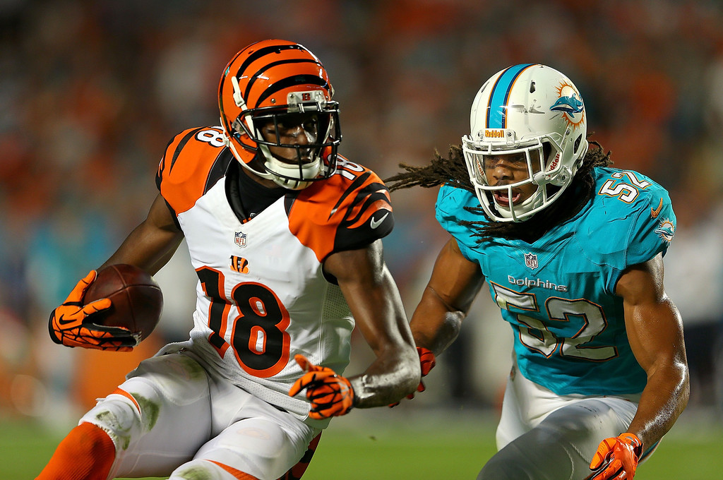 . MIAMI GARDENS, FL - OCTOBER 31: A.J. Green #18 of the Cincinnati Bengals is forced out of bounds by Philip Wheeler #52 of the Miami Dolphins during a game  at Sun Life Stadium on October 31, 2013 in Miami Gardens, Florida.  (Photo by Mike Ehrmann/Getty Images)