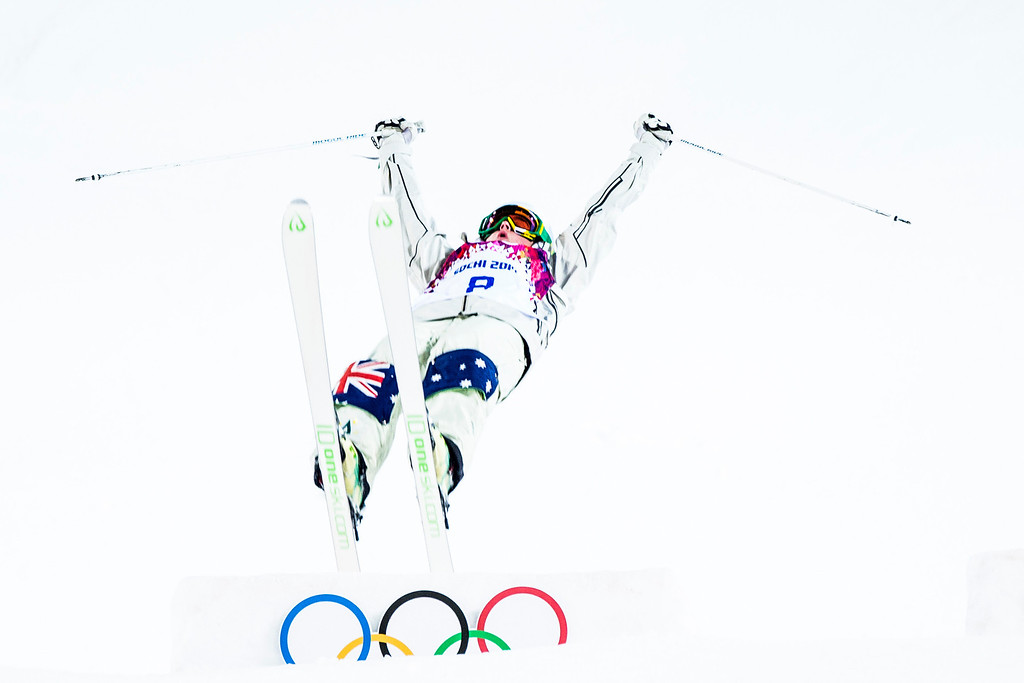 . KRASNAYA POLYANA, RUSSIA  - JANUARY 8: Britteny Cox, of Australia, competes in the Ladies\' Moguls Finals at Rosa Khutor Extreme Park during the 2014 Sochi Olympic Games Saturday February 8, 2014. Justine Dufour-Lapointe won gold with a score of 22.44. Her sister Chloe Dufour-Lapointe won the silver with a score of 21.66. Hannah Kearney, of USA, won bronze with a score of 21.49. (Photo by Chris Detrick/The Salt Lake Tribune)