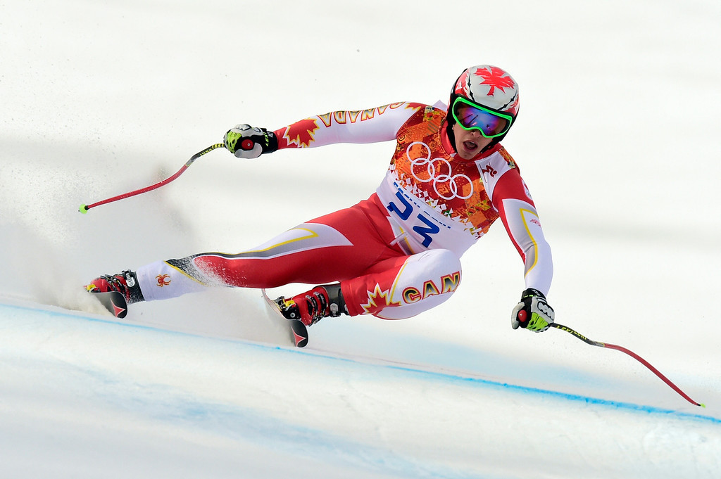 . Canada\'s Erik Guay competes during the Men\'s Alpine Skiing Super-G at the Rosa Khutor Alpine Center during the Sochi Winter Olympics on February 16, 2014.   FABRICE COFFRINI/AFP/Getty Images