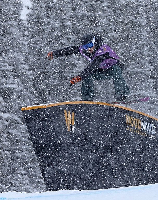 . Isabel Derungs of Switzerland competes during qualifying for the women\'s FIS Snowboard Slopestyle World Cup at U.S. Snowboarding and Freeskiing Grand Prix on December 20, 2013 in Copper Mountain, Colorado.  (Photo by Mike Ehrmann/Getty Images)