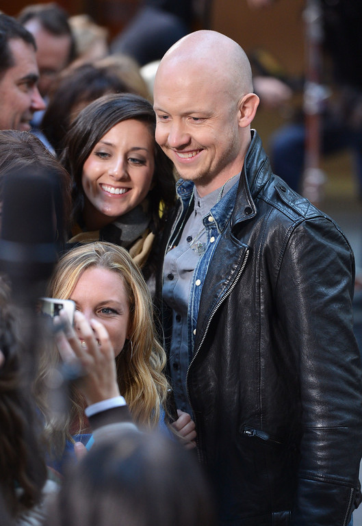 """. Isaac Slade of the Fray visits NBC\'s \""""Today\"""" on October 22, 2013 in New York, New York.  (Photo by Slaven Vlasic/Getty Images)"""