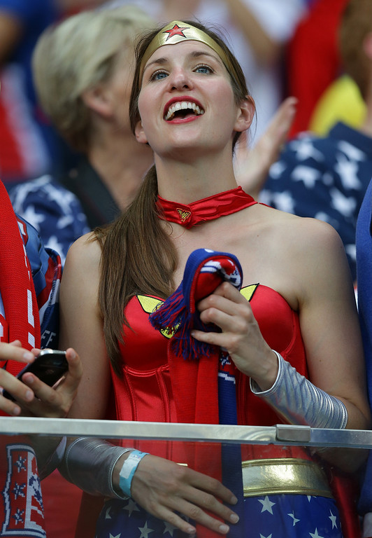 . A USA supporter cheers before the group G World Cup soccer match between the USA and Portugal at the Arena da Amazonia in Manaus, Brazil, Sunday, June 22, 2014. (AP Photo/Martin Mejia)