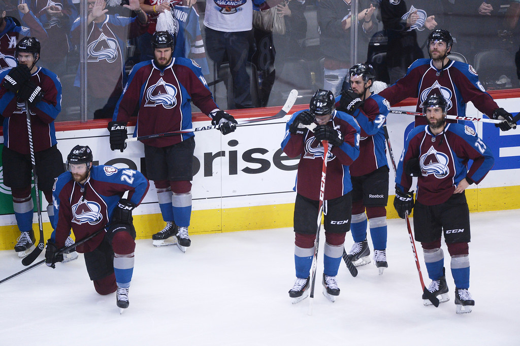 . Colorado Avalanche players react at the end of the game. The Colorado Avalanche fell 5-4 to the Minnesota Wild in game 7 of their Stanley Cup Playoff series at the Pepsi Center in Denver, Colorado on Wednesday, April 30, 2014. (Photo by Karl Gehring/The Denver Post)