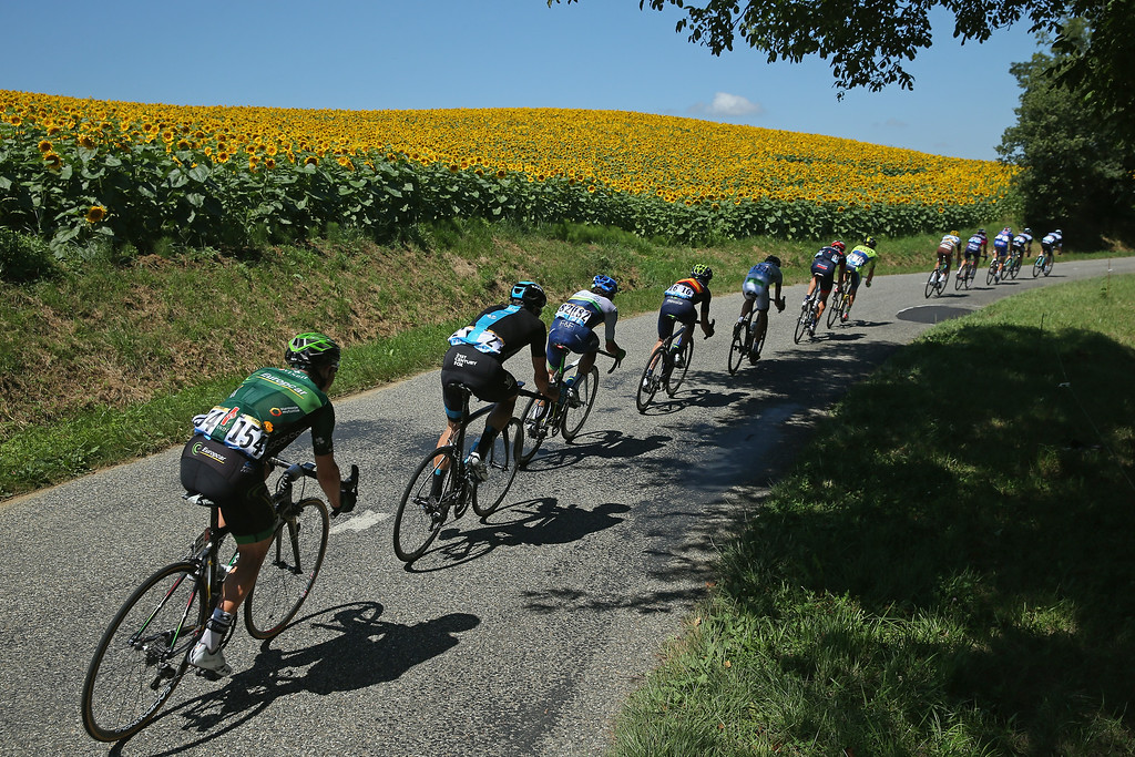 . The breakaway passes a sunflower field during the sixteenth stage of the 2014 Tour de France, a 238km stage between Carcassonne and Bagneres-de-Luchon, on July 22, 2014 in Gouses, France.  (Photo by Doug Pensinger/Getty Images)