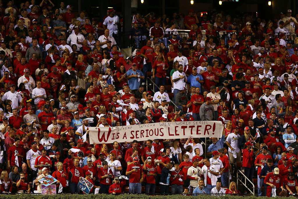 . St. Louis Cardinals fans hold up a sign in support of Michael Wacha #52 during Game Five of the National League Division Series against the Pittsburgh Pirates at Busch Stadium on October 9, 2013 in St Louis, Missouri.  (Photo by Elsa/Getty Images)