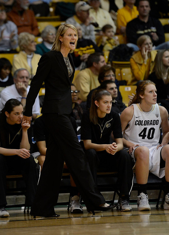 . Colorado Buffaloes head coach Linda Lappe yells out to her team against California Golden Bears Sunday, January 6, 2013 at Coors Events Center. John Leyba, The Denver Post