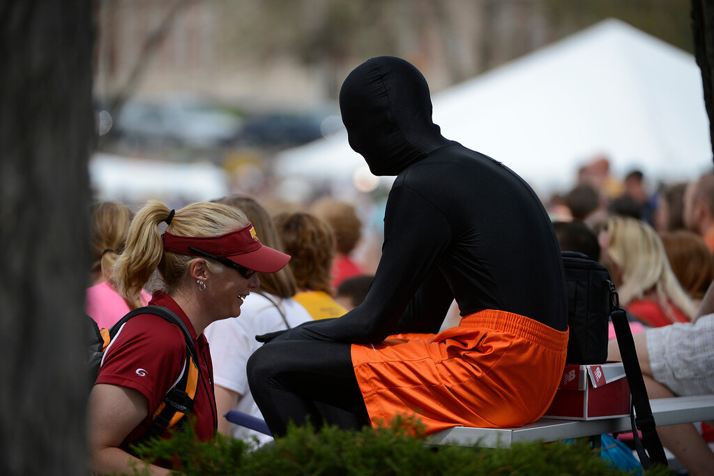 . LAKEWOOD, CO - MAY 18:  A track and field fan dressed in a full-body suit, enjoys the the Colorado State Track and Field Championships at Jeffco Stadium, Saturday morning, May 18, 2013. (Photo By Andy Cross/The Denver Post)