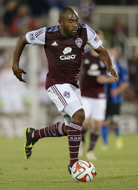 . Colorado defender Marvell Wynne pushed the ball in the second half. The Colorado Rapids defeated the Montreal Impact 4-1 Saturday night, May 24, 2014. (Photo by Karl Gehring/The Denver Post)