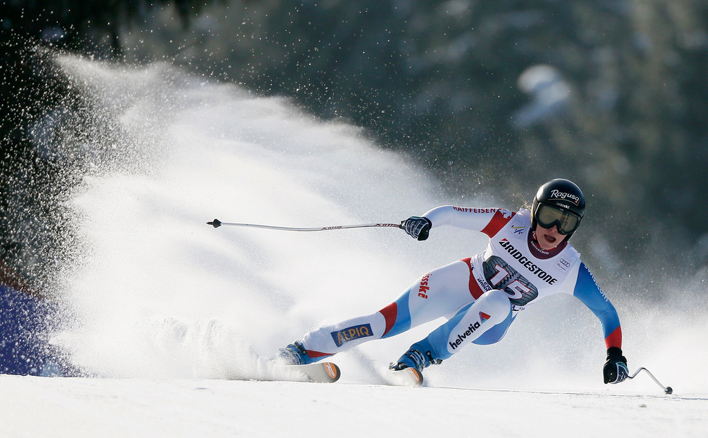 . Lara Gut of Switzerland speeds down during the women\'s Alpine Skiing World Cup Downhill race in Garmisch-Partenkirchen March 2, 2013.  REUTERS/Wolfgang Rattay