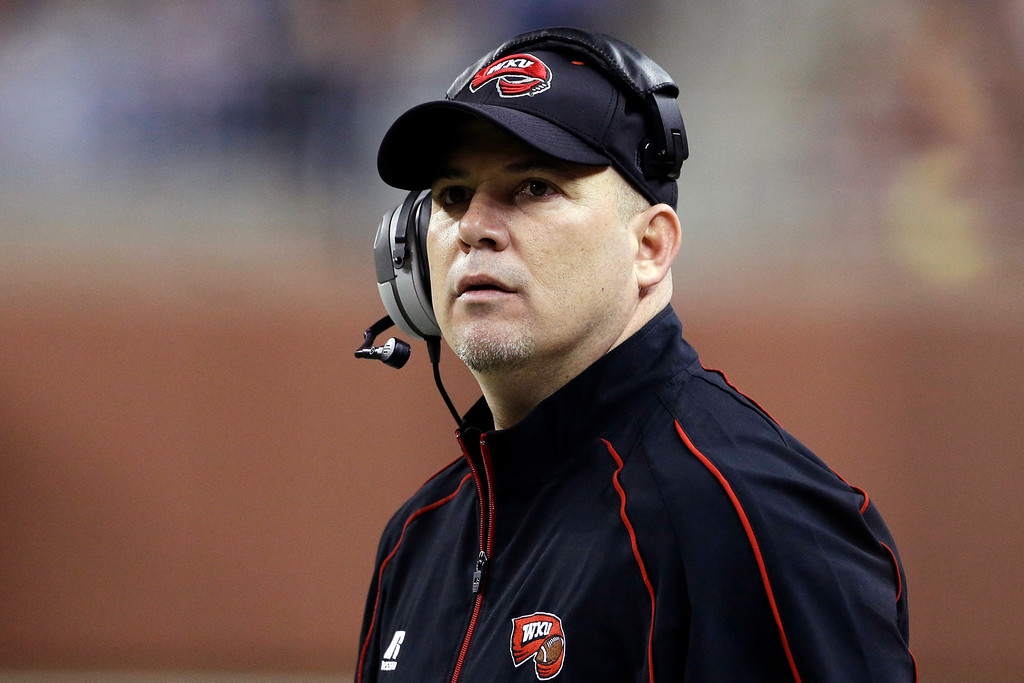 . Western Kentucky interim head coach Lance Guidry watches from the sideline during the first quarter of the Little Caesars Pizza Bowl NCAA college football game against Central Michigan at Ford Field in Detroit, Wednesday, Dec. 26, 2012. (AP Photo/Carlos Osorio)