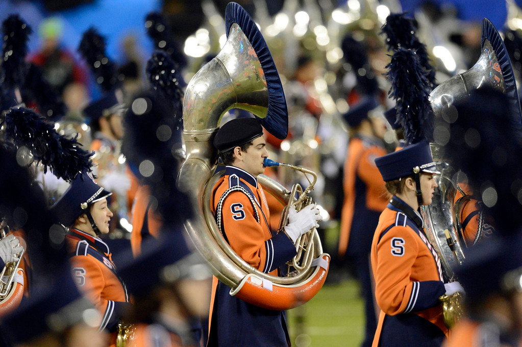 . A marching band performs on the field prior to the start of the game. The Denver Broncos vs the Seattle Seahawks in Super Bowl XLVIII at MetLife Stadium in East Rutherford, New Jersey Sunday, February 2, 2014. (Photo by AAron Ontiveroz/The Denver Post)