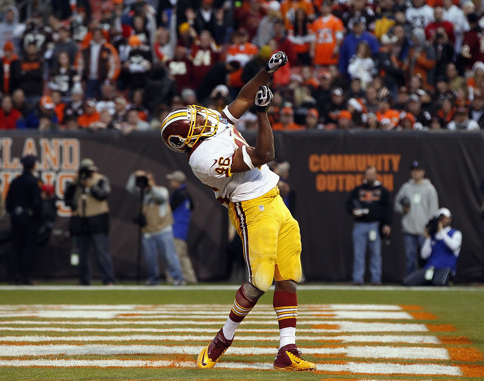 . Running back Alfred Morris #46 of the Washington Redskins celebrates after scoring a touchdown against the Cleveland Browns at Cleveland Browns Stadium on December 16, 2012 in Cleveland, Ohio.  (Photo by Matt Sullivan/Getty Images)