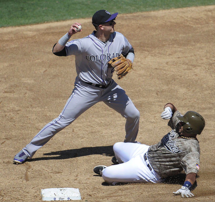 . Troy Tulowitzki #2 of the Colorado Rockies tries to turn a double play as he throws over Rene Rivera #44 of the San Diego Padres during the third inning of a baseball game at Petco Park on September 8, 2013 in San Diego, California. Tulowitzki was unable to make the throw to first base.  (Photo by Denis Poroy/Getty Images)