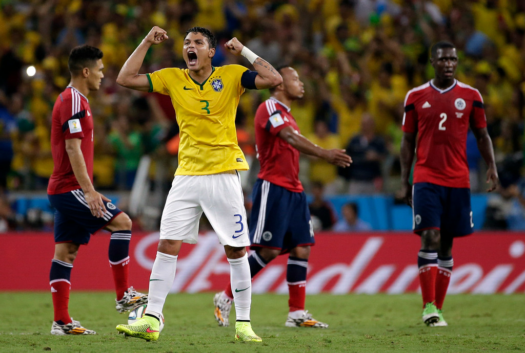 . Brazil\'s Thiago Silva  celebrates after David Luiz scored his side\'s second goal during the World Cup quarterfinal soccer match between Brazil and Colombia at the Arena Castelao in Fortaleza, Brazil, Friday, July 4, 2014. (AP Photo/Felipe Dana)