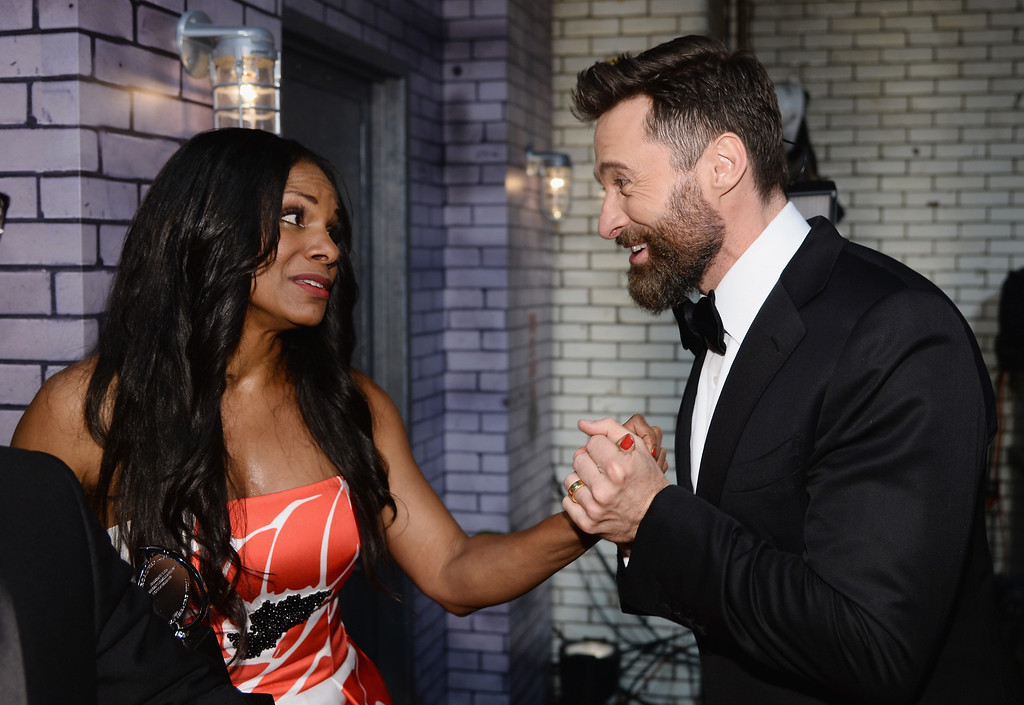 . Actors Audra McDonald (L) and Hugh Jackman attend the 68th Annual Tony Awards at Radio City Music Hall on June 8, 2014 in New York City.  (Photo by Dimitrios Kambouris/Getty Images for Tony Awards Productions)