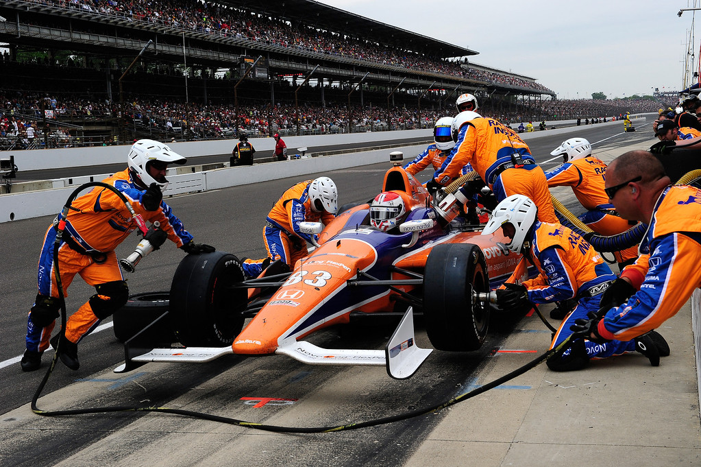 . Charlie Kimball, driver of the #83 NovoLog FlexPen Honda, during the IZOD IndyCar Series 97th running of the Indianpolis 500 mile race at the Indianapolis Motor Speedway on May 26, 2013 in Indianapolis, Indiana.  (Photo by Robert Laberge/Getty Images)