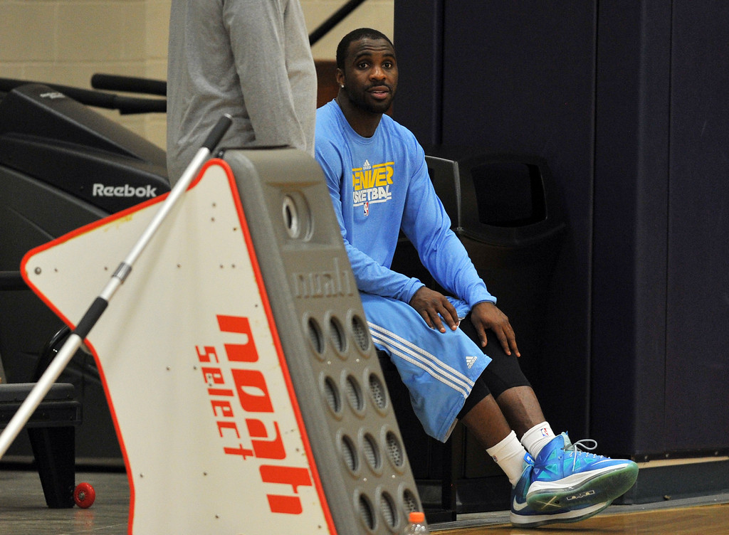 . DENVER, CO. - APRIL 18 : Ty Lawson of Denver Nuggets is in the team practice for the 1st round of playoff game against Golden State Warriors at Pepsi Center. Denver. Denver, Colorado. April 18, 2013. (Photo By Hyoung Chang/The Denver Post)