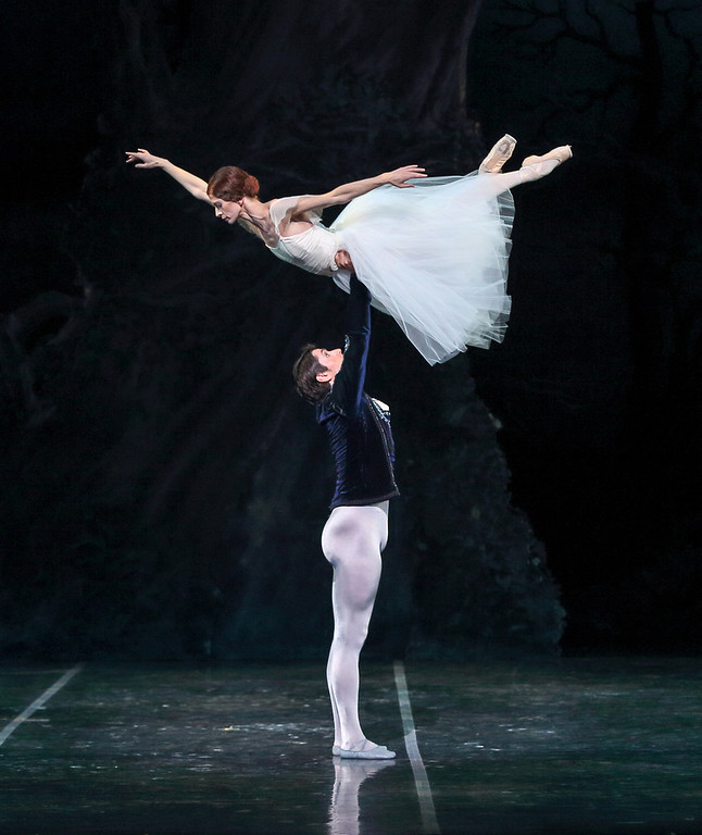 """. 5. Maria Mosina dances in the Colorado Balletís Giselle Oct. 4.  Mosina is a full-fledged ballet star and nailed the cherished role, mostly on one leg. Here she gets a lift from Alexei Tyukov in Colorado Ballet\'s \""""Giselle.\"""" Photo from Colorado Ballet."""